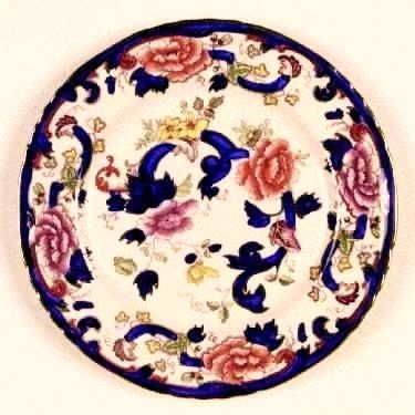 "Mason's Ironstone Mandalay 10 1/2"" Dinner Plate, England, Cobalt, Iron Red"