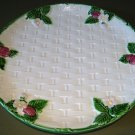 "10"" RIBBON & BOW Basketweave Stoneware Majolica Plate by Haldon"