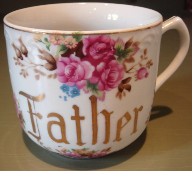 Charming Large Vintage Porcelain Shaving Mug FATHER Floral