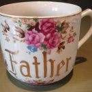 Charming Large Vintage Porcelain Shaving Mug FATHER Floral