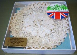 """NIB Set 5"""" Thoresby Bobbin Lace Coasters, Nottingham, England"""