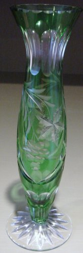 "Beautiful 10"" Green Cut to Clear Glass Flower Vase Possibly Bohemian"