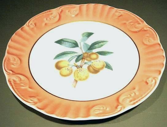 "RARE Summer Fruits APRICOTS 10"" DINNER Plate Mottahedeh Portugal"