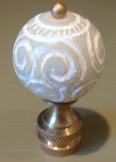 Carved Green Stone Finial for Lamp