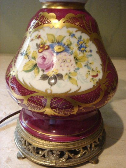 Hand Painted Floral with Gold Trim  Porcelain Table Lamp