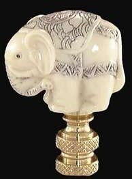 Lamp Accessory, Handsome Faux Ivory Elephant Finial