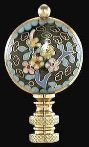 Classic Oriental Style Finial, Lamp Accessory, Floral, Black