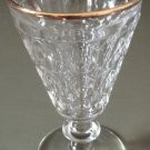 THUMBPRINT Water Goblet Gold Rim Jeannette Glass Co