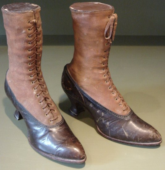 Victorian Leather Ladie's Decorative Display Leather High Top Shoes