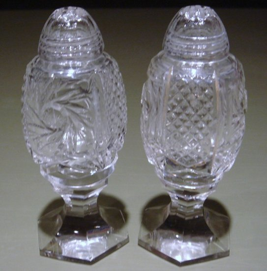 Super Pr Footed Cut Glass Salt & Pepper Shakers