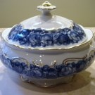 Schumann Bavaria HEIRLOOM Round Covered Vegetable Bowl Blue & White Transferware