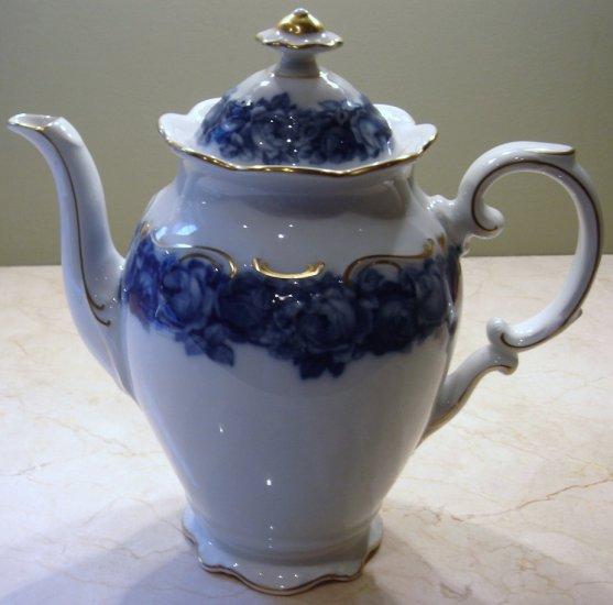 Schumann Bavaria HEIRLOOM Coffee Pot with Lid Blue & White Transferware
