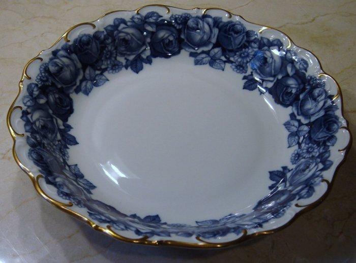 Schumann Bavaria HEIRLOOM Coupe Soup Bowl Blue & White Transferware