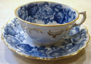 Schumann Bavaria HEIRLOOM Cup and Saucer Blue & White Transferware