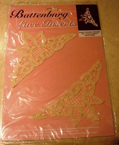 2 Battenberg Lace Insert Trim Heart Swag New in Pkg