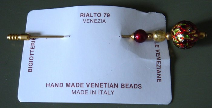 SUPER Hand Made Venetian Beads Hat Pin Venice, Italy