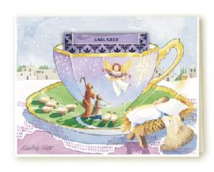 New TEA CUP Holiday Greeting Christmas Card NATIVITY Set of 6 Cards
