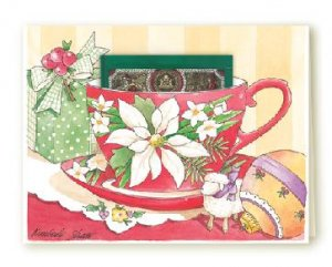 New TEA CUP Holiday Greeting Christmas Card HOLIDAY GREETING Set of 6 Cards