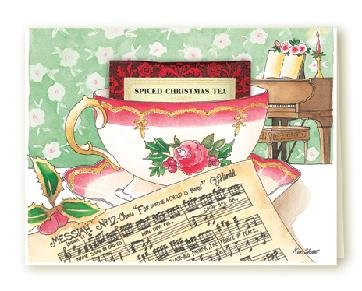 New TEA CUP Holiday Greeting Card CHRISTMAS MUSIC Set of 6 Cards