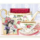 Red Hat Cat Tea Cup Greeting Card SET of 6