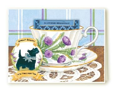 Great Scot Scottie Dog Tea Cup Greeting Card SET of 6
