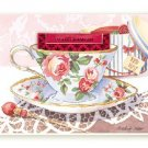 Cottage Rose Tea Cup Blank Greeting Card SET of 6