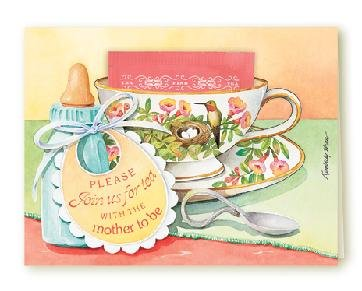 Baby Shower Invitation Tea Cup Greeting Card SET of 6 Cards