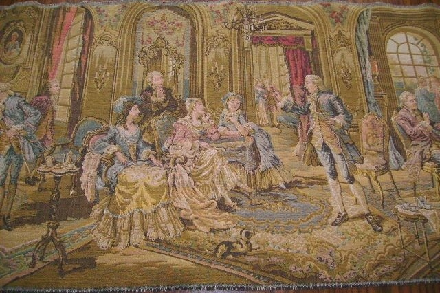 Large Outstanding Belgium Tapestry of French Parlor Scene Figurals