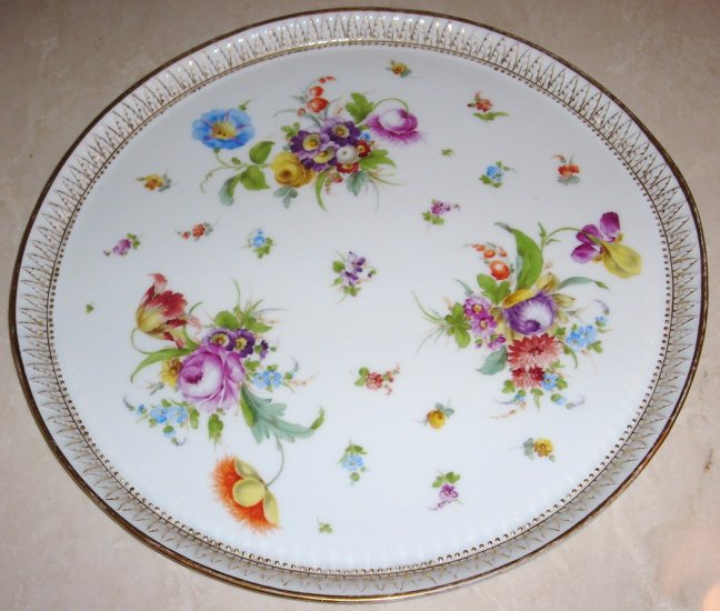 14 inch Antique Dresden Flowers Platter by Richard Klemm