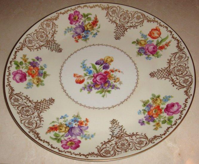13 inch Schumann Bavaria Charger Platter Dresden Flower