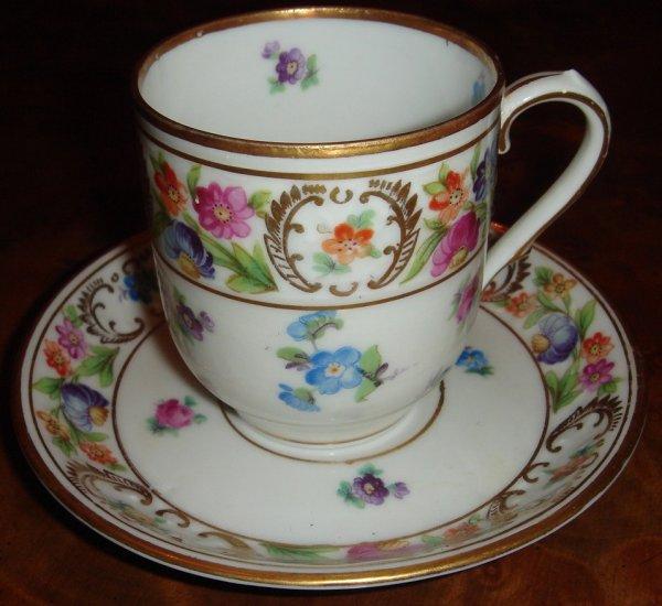 Empress Dresden Flowers Schumann Demitasse Cup & Saucer Set