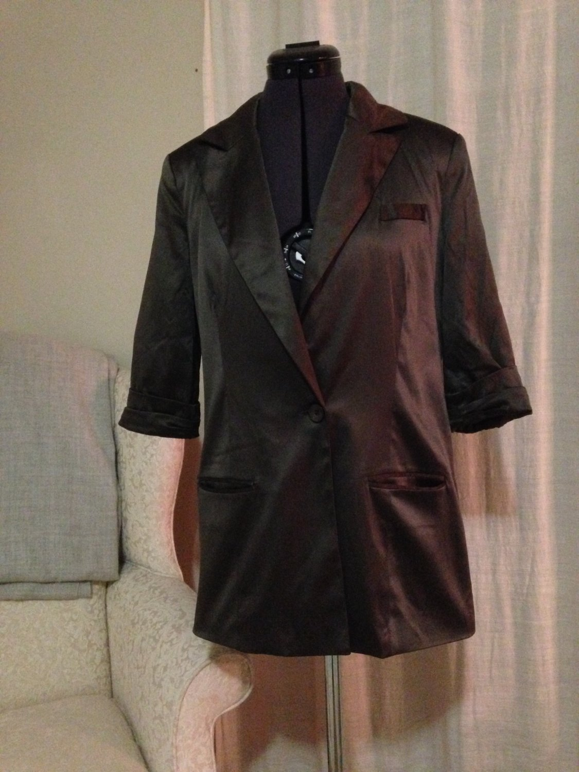 Vintage Satin Bronze Blazer, Moon Collection, Size M
