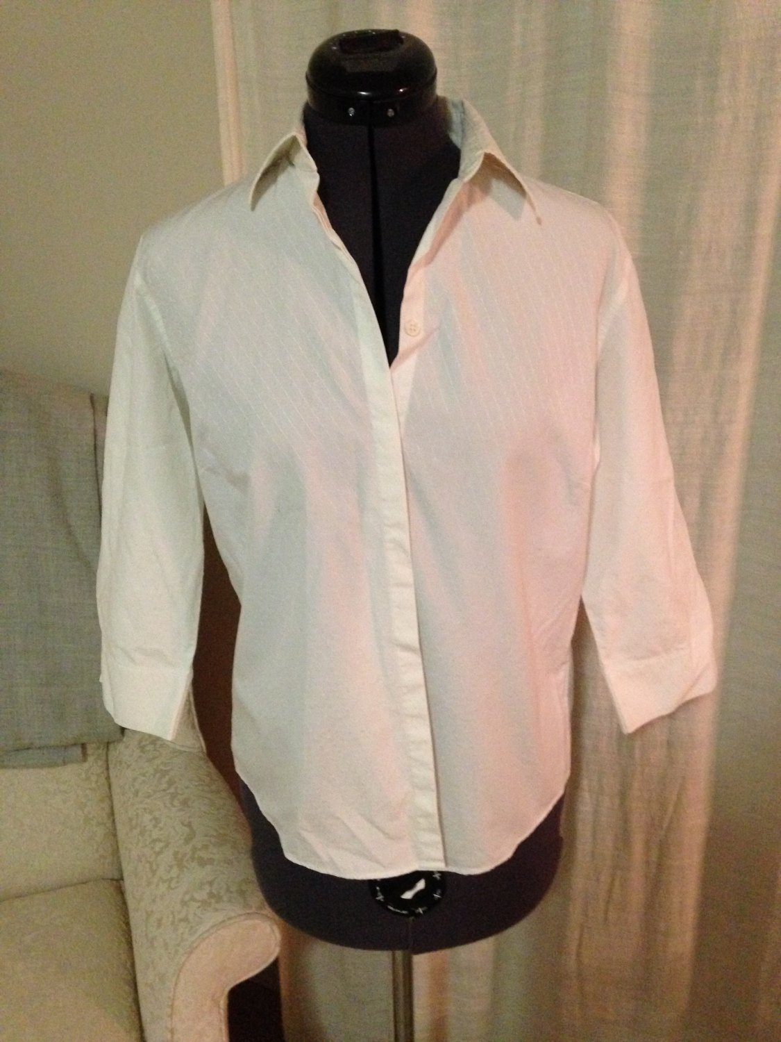 White Embroidered Blouse, Faconnable, Size S