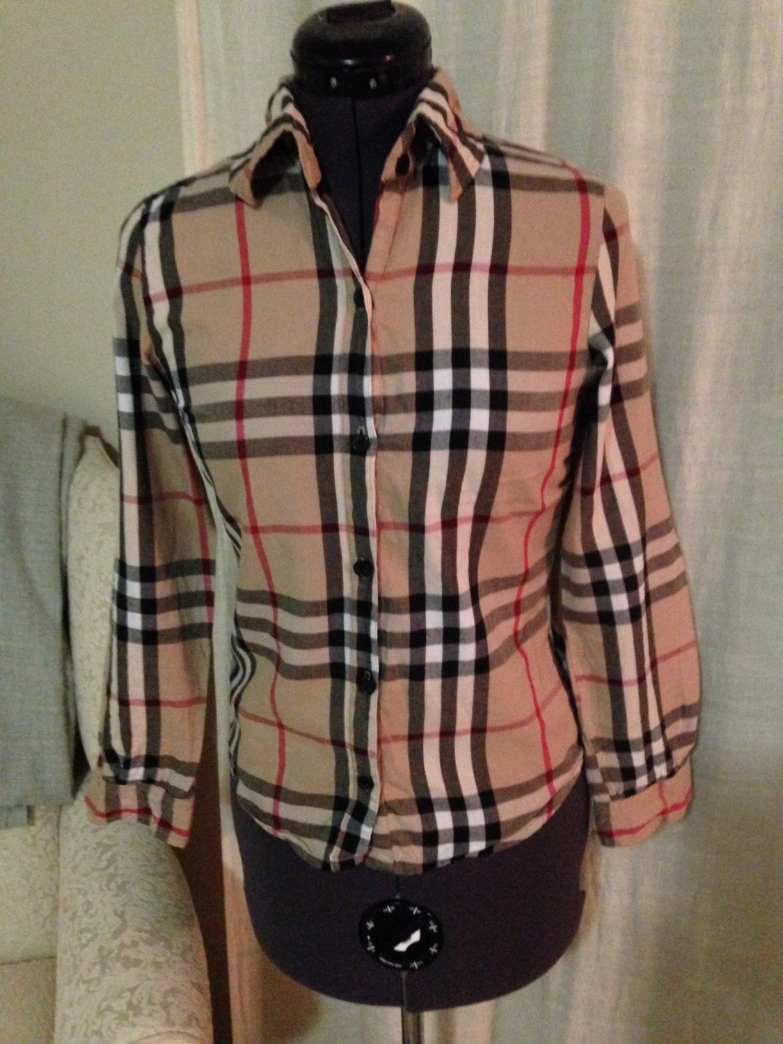 Burberry Style Blouse, Anthropologie, Size XS