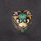 Heart Shaped Enameled Sterling Silver Box