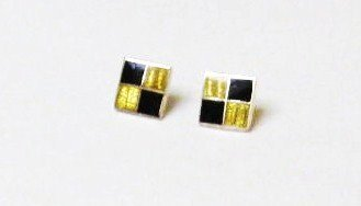 Chequered Sterling Silver Ear Rings