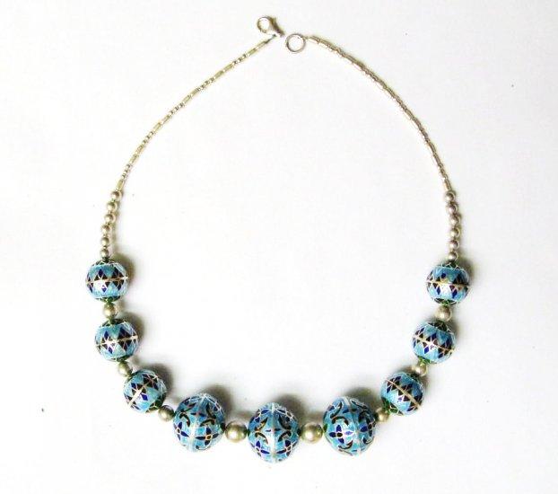 Blue Enameled Beaded Necklace