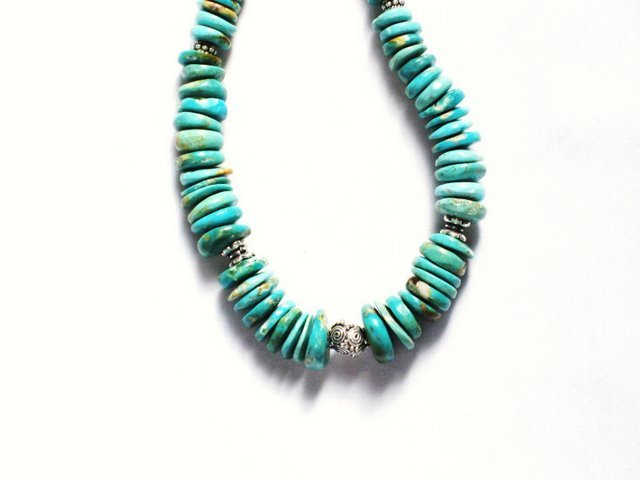 TQ005       Turquoise Necklace in Sterling Silver