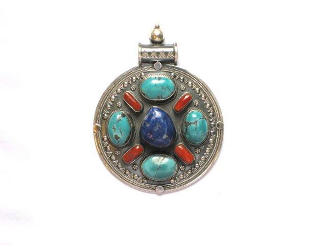 TB001       Tibetan Turquoise Coral and Lapis Lazuli Pendant