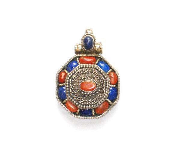 TB004       Tibetan Lapis Lazuli and Coral Pendant in Sterling Silver