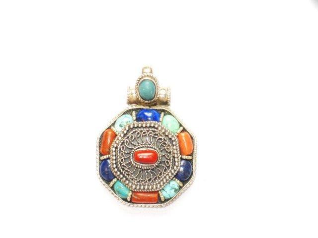 Tibetan Turquoise Coral and Lapis Lazuli Pendant