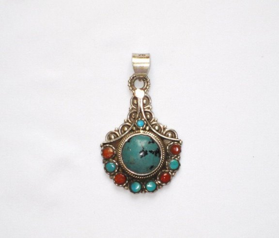 Tibetan Coral and Turquoise Pendant in Sterling Silver