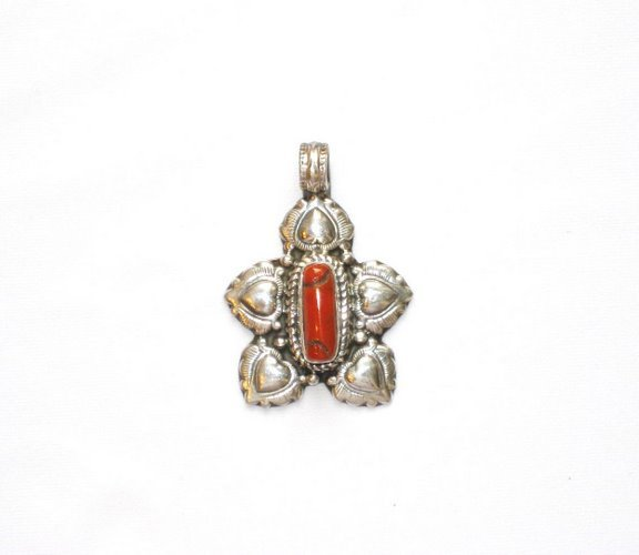 TB012       Tibetan Coral Pendant in Sterling Silver
