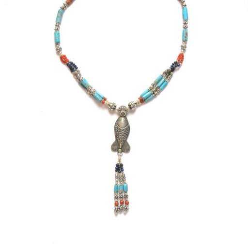 TB018       Tibetan Turquoise Coral and Lapis Lazuli Necklace in Sterling Silver