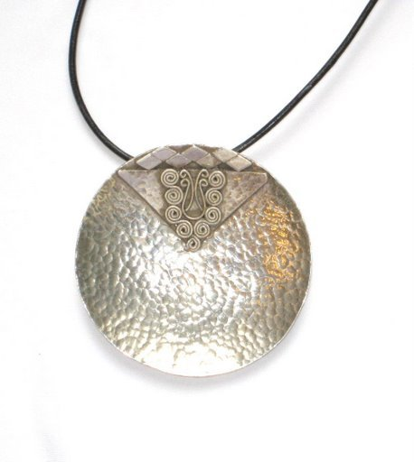 Hammered Round Sterling Silver Pendant