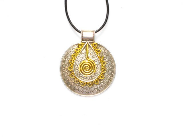 Sterling Silver Round Pendant with Gold Plated Inset