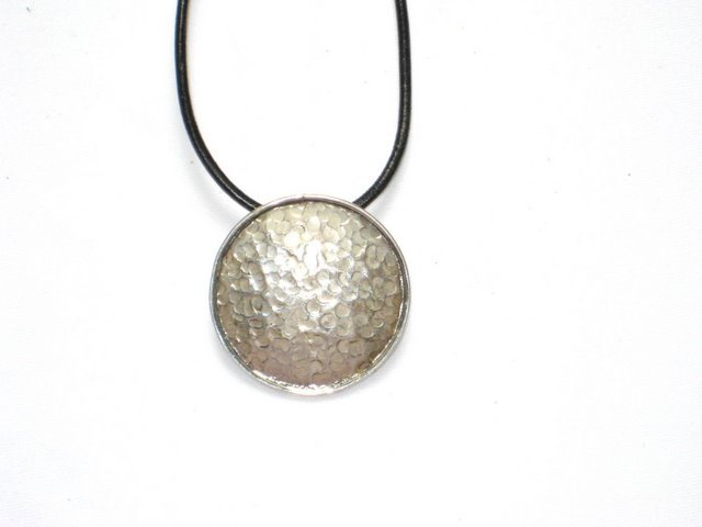 Round Hammered Sterling Silver Pendant
