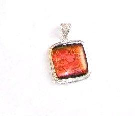 Fire Colored Dichroic Glass Silver Pendant