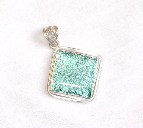 Sky Blue Colored Dichroic Glass Silver Pendant