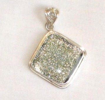 Sand Colored Dichroic Glass Silver Pendant